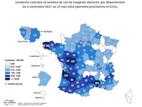 Výskyt spalniček ve Francii