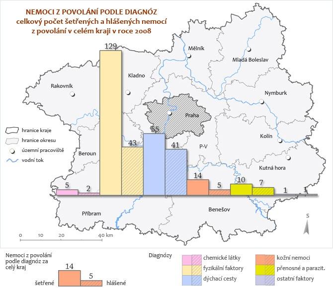 Nemoci z povolání - diagnózy v rámci kraje 2008