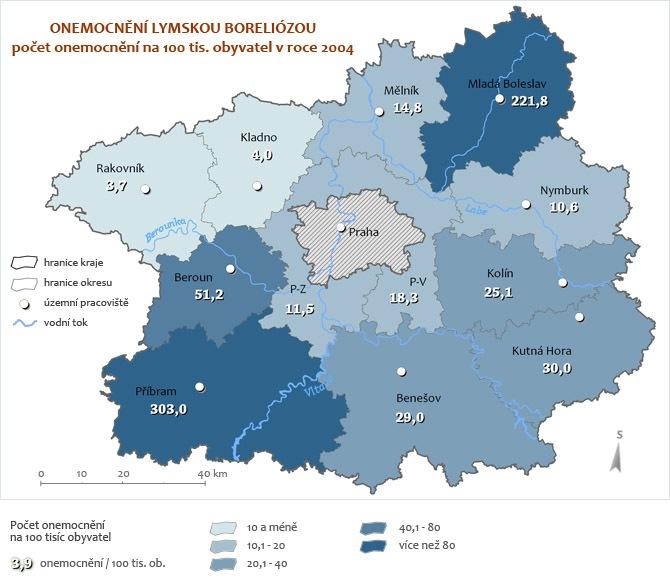 Onemocnění Boreliózou za rok 2004 - přepočet na 100 tisíc obyvatel