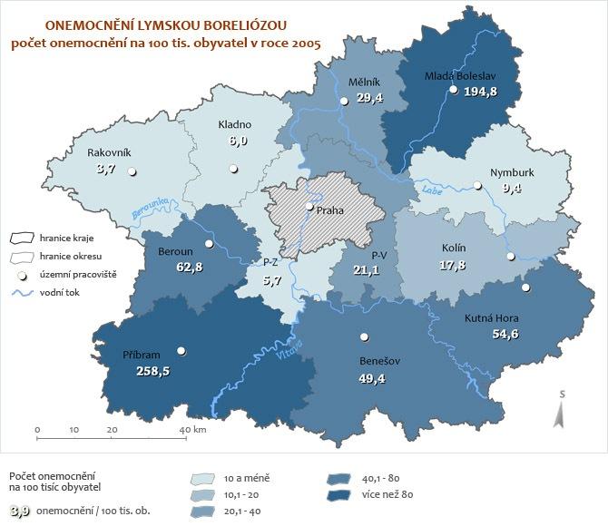 Onemocnění Boreliózou za rok 2005 - přepočet na 100 tisíc obyvatel