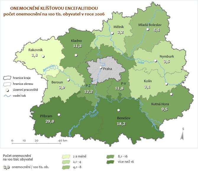 Onemocnění Encefalitidou za rok 2006 - přepočet na 100 tisíc obyvatel