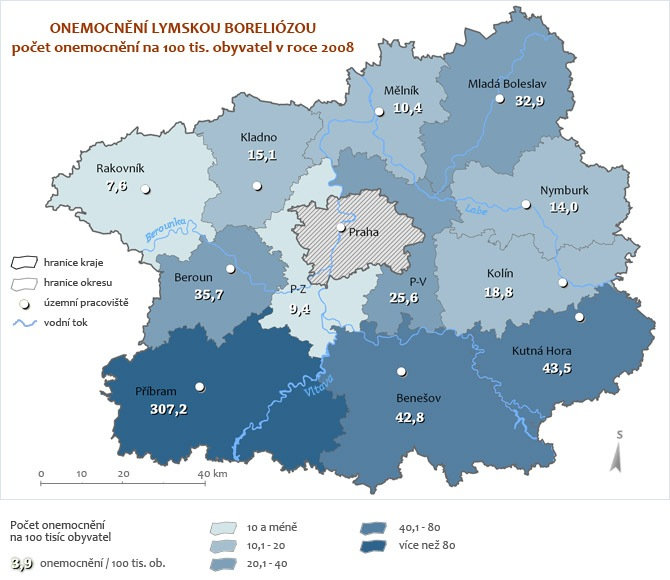Onemocnění Boreliózou za rok 2008 - přepočet na 100 tisíc obyvatel