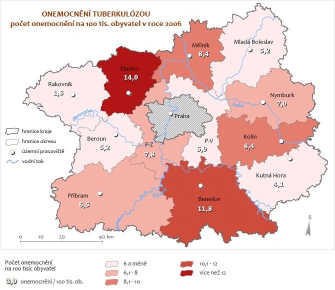 Onemocnění tuberkulózou za rok 2006 - přepočet na 100 tisíc obyvatel