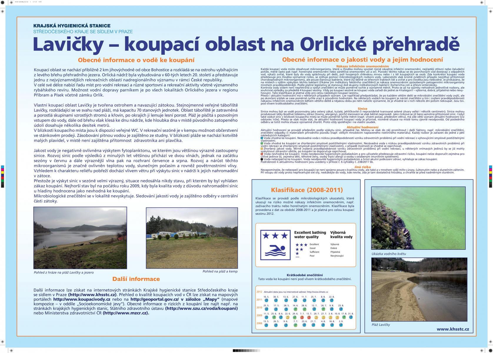 Vodní Nádrž Orlík - Lavičky, informační cedule