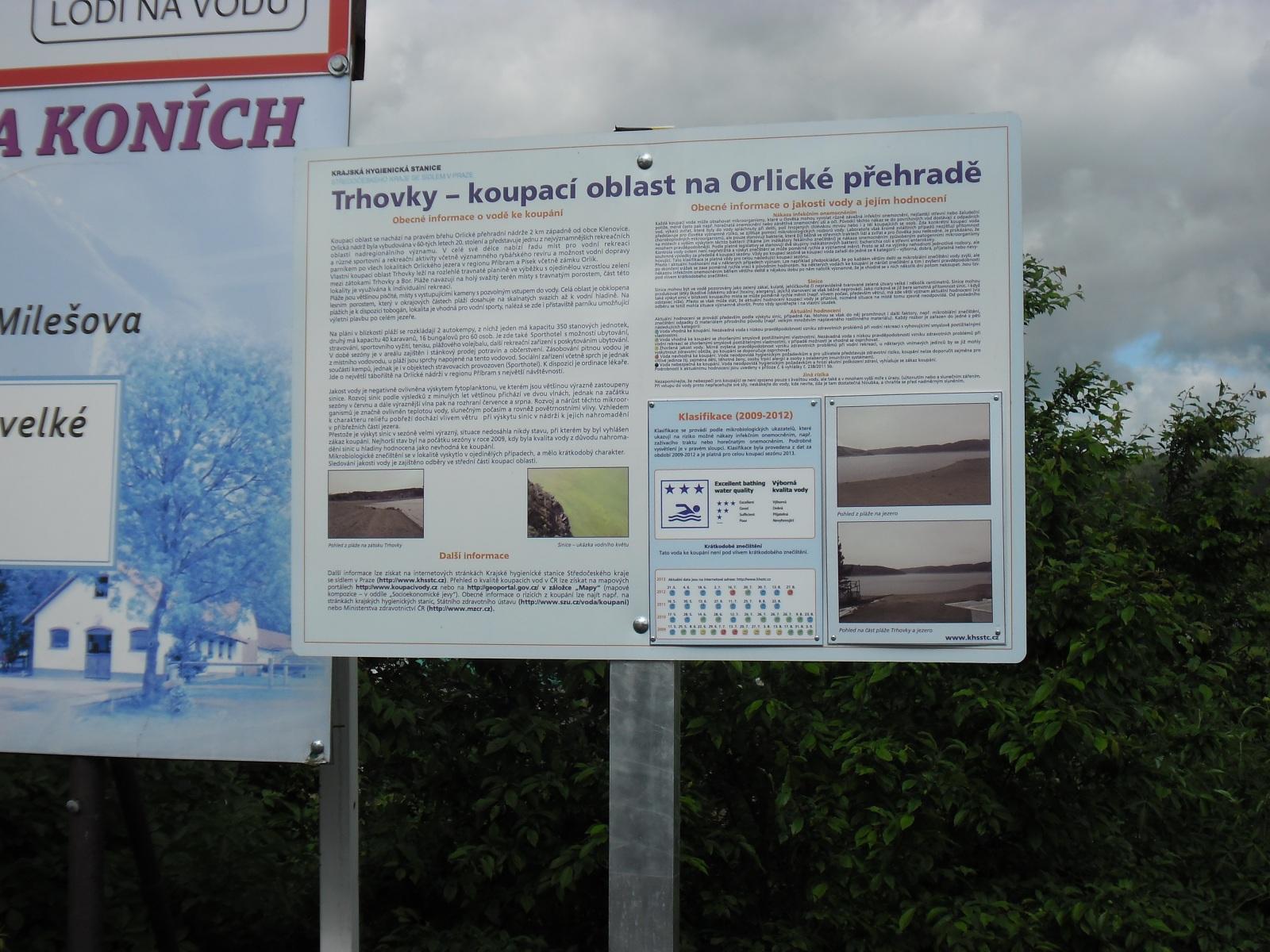 Vodní Nádrž Orlík -Trhovky, informační cedule