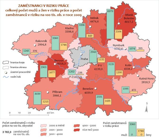 Zaměstnanci v riziku práce - riziko celkové 2009
